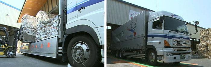 トラックにのせ、製紙工場に運ばれます