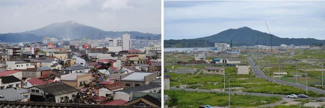 気仙沼市 震災4日後と2013年9月1日の同じ場所の光景。災害廃棄物はなくなったものの、一面、夏草が茂っている