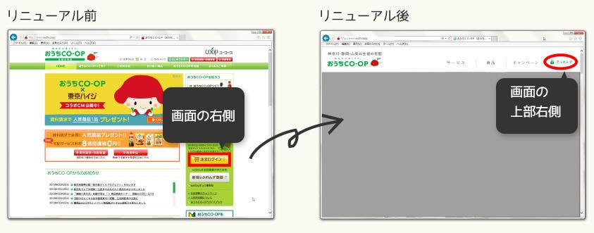 おうちCO-OPリニューアルに伴うeふれんずログインボタンの位置変更図(PC)