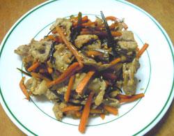 茶美豚と昆布の炒め物
