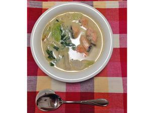 銀鮭とかぶと青梗菜の豆乳シチュー