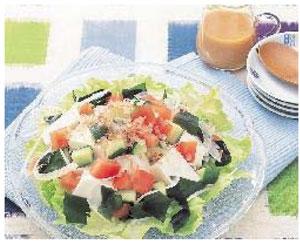 豆腐のサラダ酢みそドレッシング