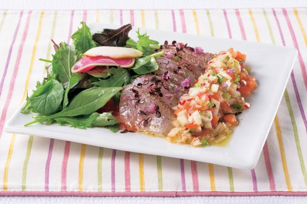真鯛のサラダ 根菜のラビゴットソース