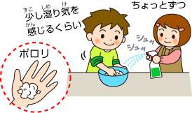 ボウルに重曹1カップとクエン酸1/3カップを入れよくまぜる。 まぜたら、霧吹きで2~3回くらい水を吹きかける。手でギュッと押さえたらホロホロくずれるくらいまで。