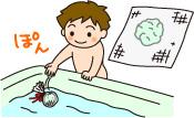 もっと簡単なのは、ガーゼなどの目の粗い布で、クエン酸と重曹をくるんでしばり、ポンと浴槽に入れる方法。布目からシュワシュワ泡が出てきます。