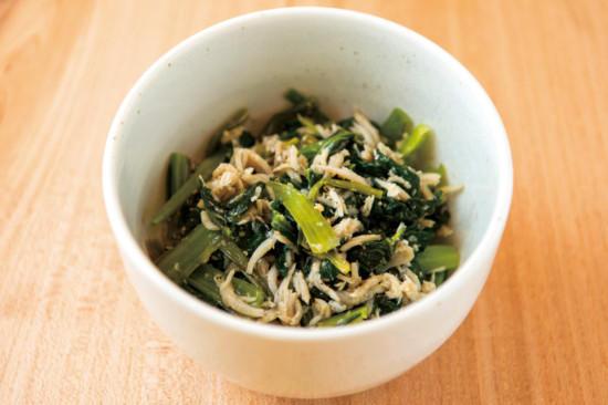 小松菜としらすの炒めもの