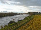 水かさの増えた北上川。写真中央にあるのが岩手山です